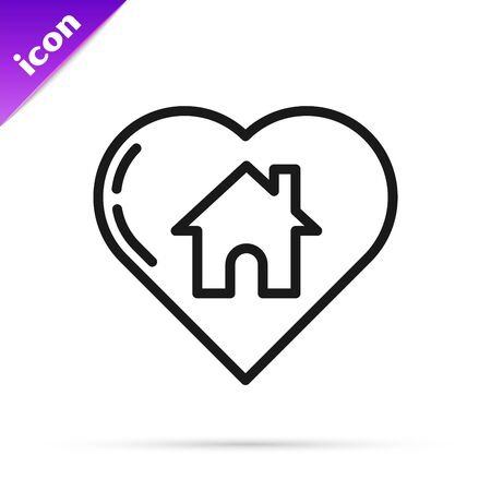 Black line House with heart shape icon isolated on white background. Love home symbol. Family, real estate and realty. Vector Illustration