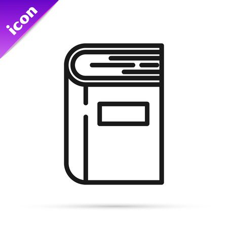 Black line Book icon isolated on white background. Vector Illustration