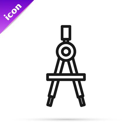 Black line Drawing compass icon isolated on white background. Compasses sign. Drawing and educational tools. Geometric instrument. Vector Illustration  イラスト・ベクター素材
