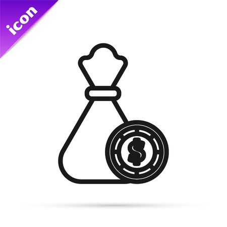 Black line Money bag and casino chips icon isolated on white background. Dollar or USD symbol. Cash Banking currency sign. Vector Illustration