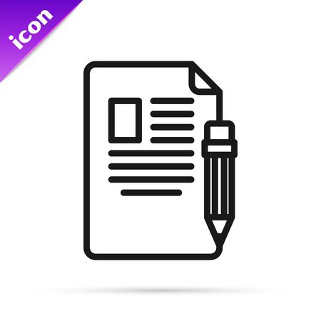 Black line Exam sheet and pencil with eraser icon isolated on white background. Test paper, exam, or survey concept. School test or exam. Vector Illustration