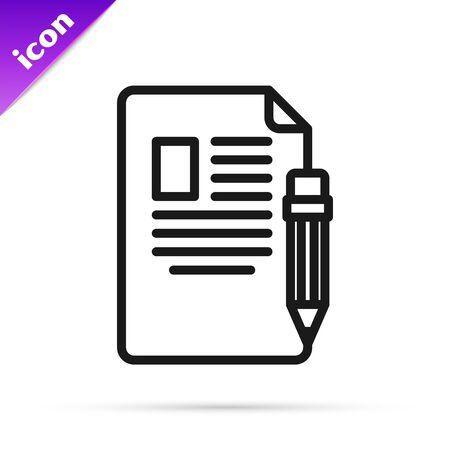 Schwarze Linie Prüfungsblatt und Bleistift mit Radiergummi-Symbol auf weißem Hintergrund. Testpapier, Prüfung oder Umfragekonzept. Schultest oder Prüfung. Vektorillustration
