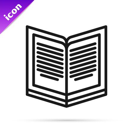 Black line Open book icon isolated on white background. Vector Illustration