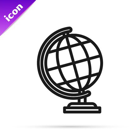 Black line Earth globe icon isolated on white background. Vector Illustration