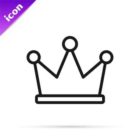 Black line Crown icon isolated on white background. Vector Illustration
