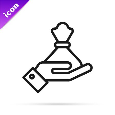 Black line Hand holding money bag icon isolated on white background. Dollar or USD symbol. Cash Banking currency sign. Vector Illustration
