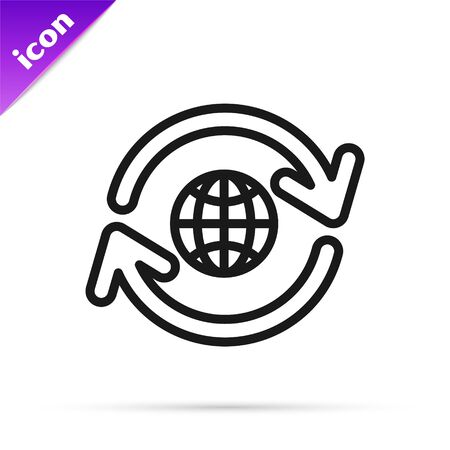 Black line Planet earth and a recycling icon isolated on white background. Environmental concept. Vector Illustration
