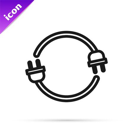 Black line Electric plug icon isolated on white background. Concept of connection and disconnection of the electricity. Vector Illustration