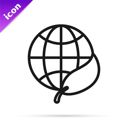 Black line Earth globe and leaf icon isolated on white background. World or Earth sign. Geometric shapes. Environmental concept. Vector Illustration Ilustracja
