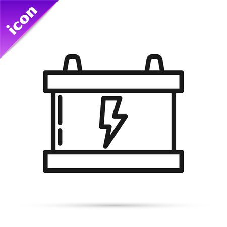 Black line Car battery icon isolated on white background. Accumulator battery energy power and electricity accumulator battery. Lightning bolt. Vector Illustration
