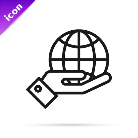 Black line Human hands holding Earth globe icon isolated on white background. Save earth concept. Vector Illustration