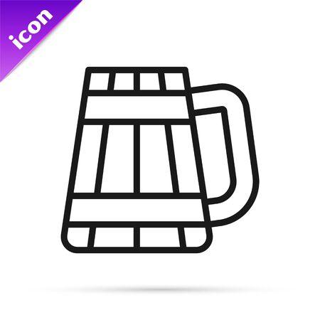 Black line Wooden beer mug icon isolated on white background. Vector Illustration