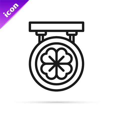 Black line Street signboard with four leaf clover icon isolated on white background. Suitable for advertisements bar, cafe, pub. Vector Illustration Ilustração