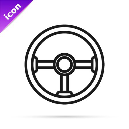Black line Steering wheel icon isolated on white background. Car wheel icon. Vector Illustration Illustration