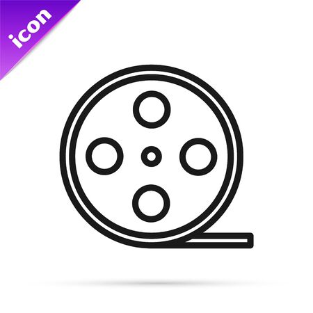 Black line Film reel icon isolated on white background. Vector Illustration