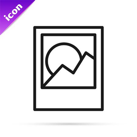 Black line Photo frames icon isolated on white background. Vector Illustration Stok Fotoğraf - 133800863