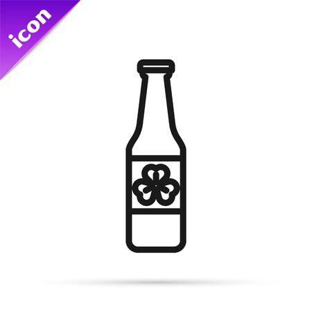 Black line Beer bottle with four leaf clover icon isolated on white background. Happy Saint Patricks day. Vector Illustration Ilustração
