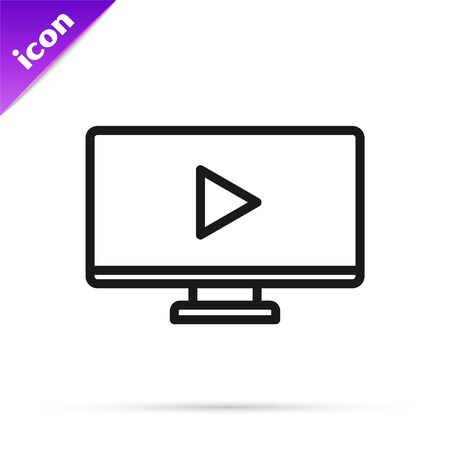 Black line Online play video icon isolated on white background. Computer monitor and film strip with play sign. Vector Illustration