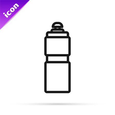 Black line Fitness shaker icon isolated on white background. Sports shaker bottle with lid for water and protein cocktails. Vector Illustration