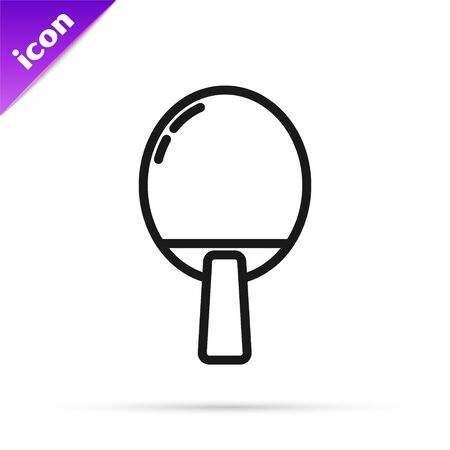 Black line Racket for playing table tennis icon isolated on white background. Vector Illustration
