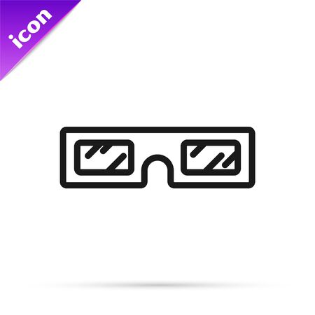 Black line 3D cinema glasses icon isolated on white background. Vector Illustration 스톡 콘텐츠 - 133800985