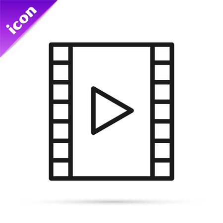 Black line Play Video icon isolated on white background. Film strip with play sign. Vector Illustration
