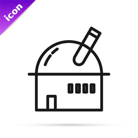 Black line Astronomical observatory icon isolated on white background. Observatory with a telescope. Scientific institution. Vector Illustration Ilustrace