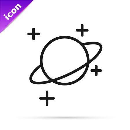 Black line Planet icon isolated on white background. Vector Illustration