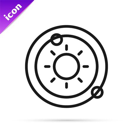 Black line Solar system icon isolated on white background. The planets revolve around the star. Vector Illustration Ilustracja