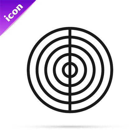 Black line Earth structure icon isolated on white background. Geophysics concept with earth core and section layers earth. Vector Illustration Ilustracja