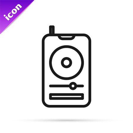 Black line Music player icon isolated on white background. Portable music device. Vector Illustration Ilustrace