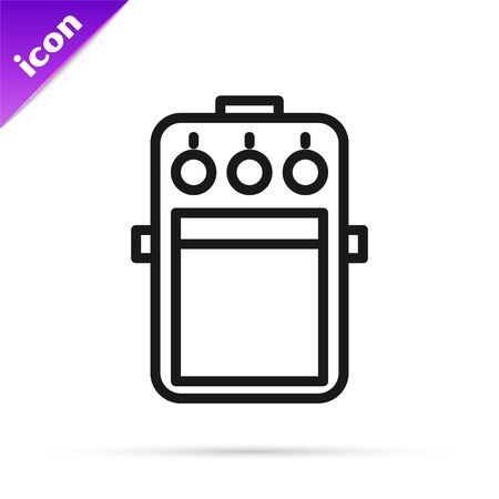 Black line Guitar pedal icon isolated on white background. Musical equipment. Vector Illustration