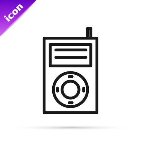 Black line Music MP3 player icon isolated on white background. Portable music device. Vector Illustration Ilustrace