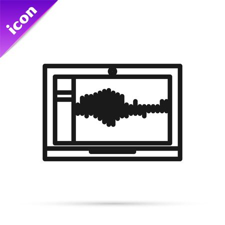 Black line Sound or audio recorder or editor software on laptop icon isolated on white background. Vector Illustration