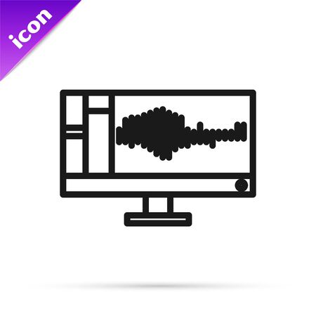 Black line Sound or audio recorder or editor software on computer monitor icon isolated on white background. Vector Illustration