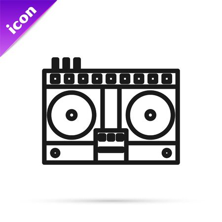 Black line DJ remote for playing and mixing music icon isolated on white background. DJ mixer complete with vinyl player and remote control. Vector Illustration