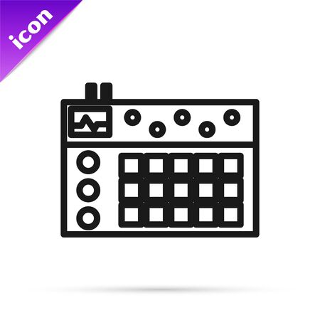 Black line Drum machine icon isolated on white background. Musical equipment. Vector Illustration