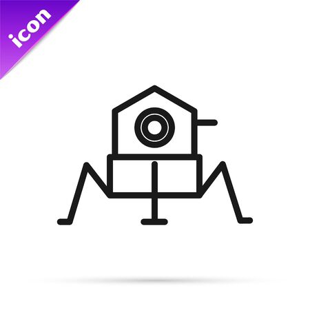 Black line Mars rover icon isolated on white background. Space rover. Moonwalker sign. Apparatus for studying planets surface. Vector Illustration