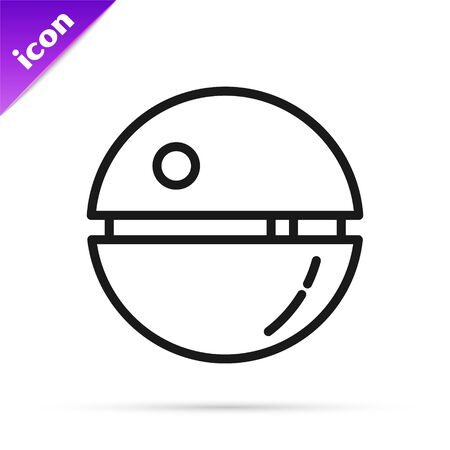 Black line Death star icon isolated on white background. Vector Illustration