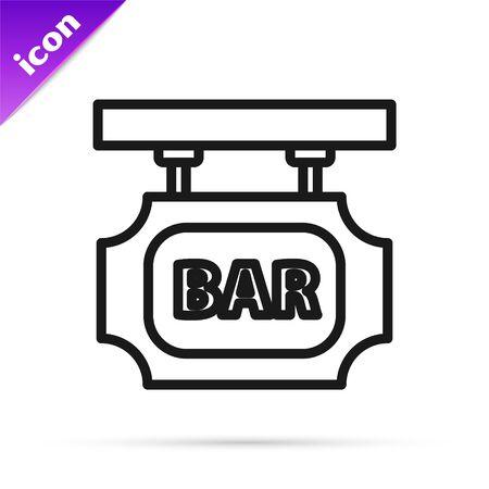 Black line Street signboard with inscription Bar icon isolated on white background. Suitable for advertisements bar, cafe, pub, restaurant. Vector Illustration Ilustração