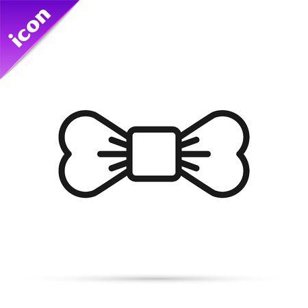 Black line Bow tie icon isolated on white background. Vector Illustration Illusztráció