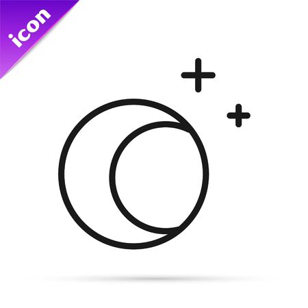 Black line Moon and stars icon isolated on white background. Vector Illustration