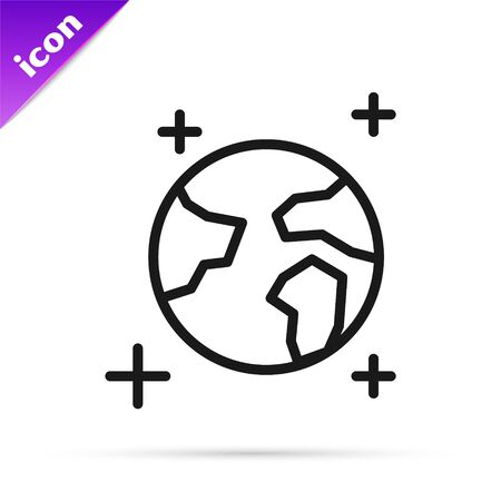 Black line Earth globe icon isolated on white background. World or Earth sign. Global internet symbol. Geometric shapes. Vector Illustration