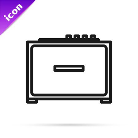 Black line Guitar amplifier icon isolated on white background. Musical instrument. Vector Illustration
