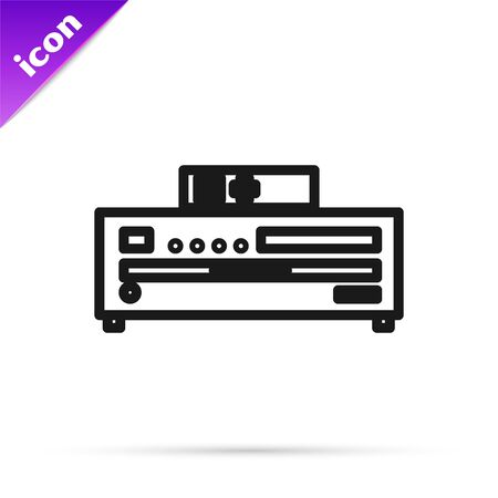 Black line Music CD player icon isolated on white background. Portable music device. Vector Illustration