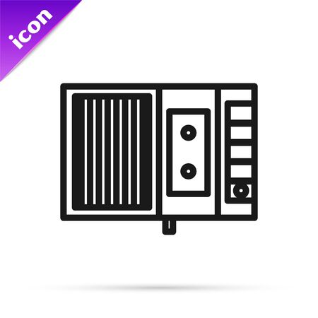 Black line Music tape player icon isolated on white background. Portable music device. Vector Illustration