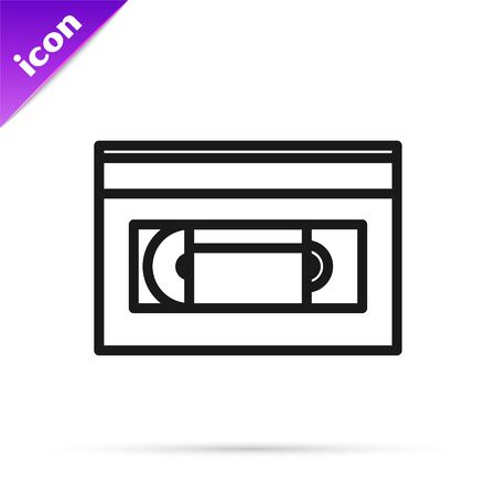Black line VHS video cassette tape icon isolated on white background. Vector Illustration