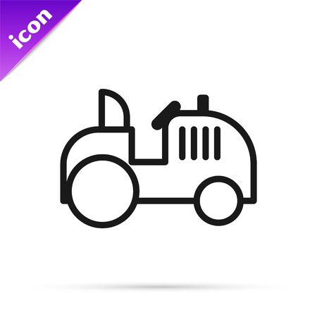 Black line Tractor icon isolated on white background. Vector Illustration Illustration