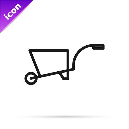 Black line Wheelbarrow icon isolated on white background. Tool equipment. Agriculture cart wheel farm. Vector Illustration Stok Fotoğraf - 133812646