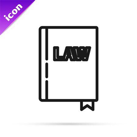 Icône de livre de droit de ligne noire isolé sur fond blanc. Livre de juge juridique. Notion de jugement. Illustration vectorielle